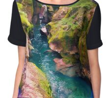 Trail of Cedars, Montana _ American Cutouts Chiffon Top