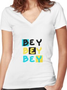 """""""BEY"""" Bahamian Slang Women's Fitted V-Neck T-Shirt"""