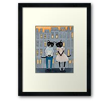 Cats First Date Framed Print