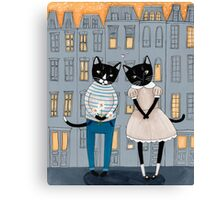 Cats First Date Canvas Print