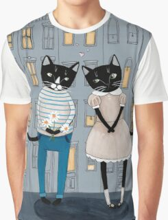 Cats First Date Graphic T-Shirt