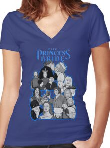 the Princess Bride character collage Women's Fitted V-Neck T-Shirt