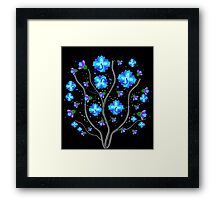 Aqua Tropical Flower Design by Kat Worth Framed Print
