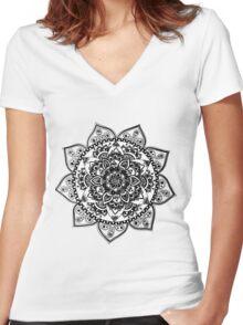Black Flower Mandala Women's Fitted V-Neck T-Shirt