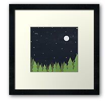 Cute Forest at Night Framed Print