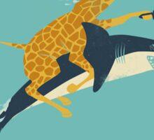 Giraffe riding shark Sticker