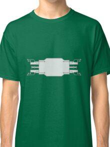 technology line connection microchip datentechnik electronics cool design robot cyborg shield frame text empty umrandung Classic T-Shirt