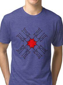 technology line connection microchip datentechnik electronics cool design robot cyborg pattern star cross x Tri-blend T-Shirt