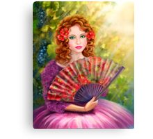 Girl beautiful with a fan against a grape garden. Canvas Print