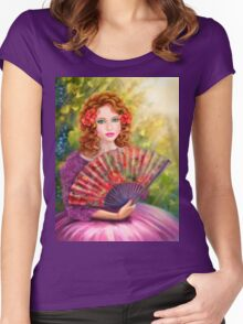 Girl beautiful with a fan against a grape garden. Women's Fitted Scoop T-Shirt