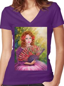 Girl beautiful with a fan against a grape garden. Women's Fitted V-Neck T-Shirt