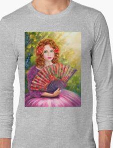 Girl beautiful with a fan against a grape garden. Long Sleeve T-Shirt