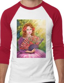Girl beautiful with a fan against a grape garden. Men's Baseball ¾ T-Shirt