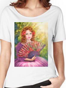 Girl beautiful with a fan against a grape garden. Women's Relaxed Fit T-Shirt