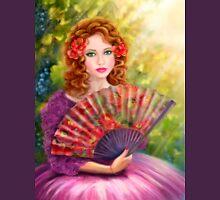 Girl beautiful with a fan against a grape garden. Unisex T-Shirt