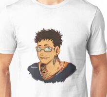 Barber Daichi with glasses, tattoos and piercings.  Unisex T-Shirt