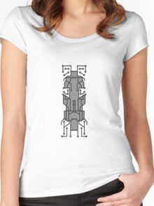 technology line connection microchip datentechnik electronics cool design robot cyborg pattern Women's Fitted Scoop T-Shirt