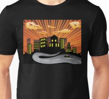 Sunset City and Road Silhouette Unisex T-Shirt