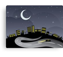 Night City and Road Canvas Print