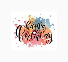 Happy Birthday Typography on Watercolor Background Unisex T-Shirt