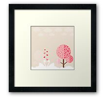 swans in love on the white waves,vector illustration Framed Print