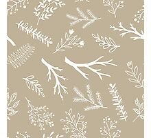Beige branches cute pattern Photographic Print