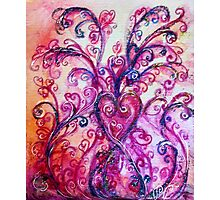 PINK HEART WITH FUCHSIA PURPLE WHIMSICAL FLOURISHES  Photographic Print