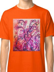 PINK HEART WITH FUCHSIA PURPLE WHIMSICAL FLOURISHES  Classic T-Shirt