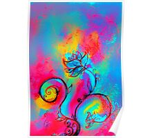 PINK FUCHSIA BLUE YELLOW WHIMSICAL FLOWERS Poster