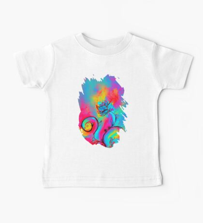 PINK FUCHSIA BLUE YELLOW WHIMSICAL FLOWERS Baby Tee