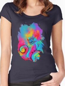 PINK FUCHSIA BLUE YELLOW WHIMSICAL FLOWERS Women's Fitted Scoop T-Shirt