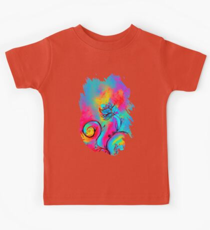 PINK FUCHSIA BLUE YELLOW WHIMSICAL FLOWERS Kids Tee