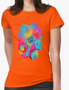 PINK FUCHSIA BLUE YELLOW WHIMSICAL FLOWERS Womens Fitted T-Shirt