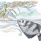 Archer Fish V Praying Mantis by SnakeArtist