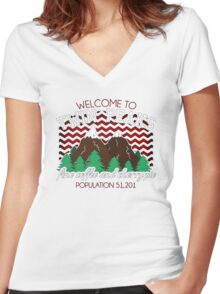 Welcome to Twin Peaks Women's Fitted V-Neck T-Shirt