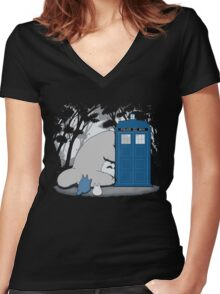 Totoro My Neigbour,Dr Who Women's Fitted V-Neck T-Shirt