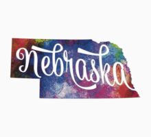 Nebraska US State in watercolor text cut out Baby Tee