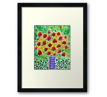 Abstract Bouquet in a Tall Vase Framed Print