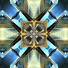 Blue, Green And Gold Abstract by Phil Perkins