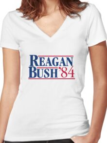 Reagan Bush Women's Fitted V-Neck T-Shirt