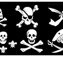 BLACK PIRATE BANNERS SKULL,CROSSED BONES,SWORDS Sticker