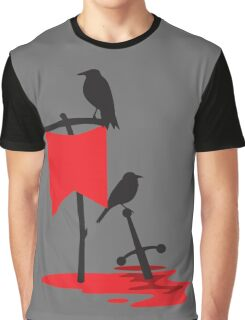Black crows standing vigil on a blood red battlefield Graphic T-Shirt