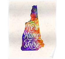 New Hampshire US State in watercolor text cut out Poster