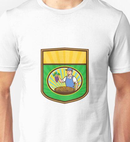 Organic Farmer Boy Grapes Raisins Crest Retro Unisex T-Shirt