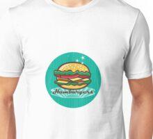 Retro 1950s Diner  Hamburger Circle Unisex T-Shirt