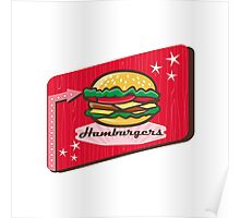 Retro 1950s Diner Hamburger Sign Poster