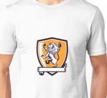 Lion Prancing Crest Woodcut Unisex T-Shirt