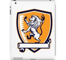 Lion Prancing Crest Woodcut iPad Case/Skin