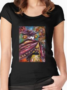 FAUST / Mysterious Mask with Tricorn and Owl Women's Fitted Scoop T-Shirt
