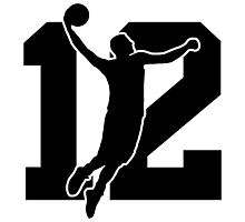 Basketball logo number 12 Photographic Print